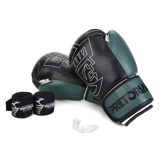 Kit Luva de Boxe/Muay Thai Pretorian FIRST 14 Oz + Bandagem + Protetor Bucal - Preto / Militar