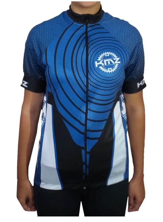 Camiseta Ciclista Azul / Preto / Branco KMZ
