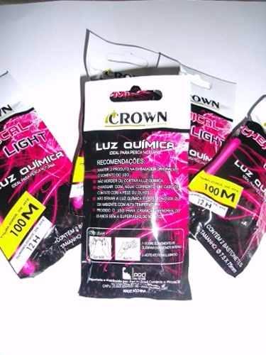 Luz Química Crown 75 mm rosa 6 bastões