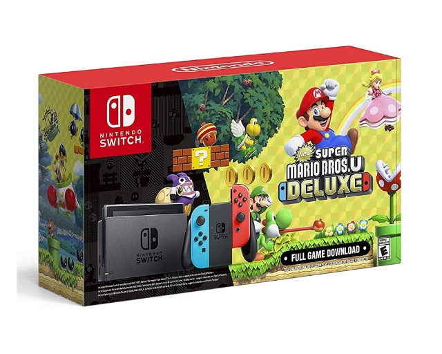 Nintendo Switch Neon Bundle New Super Mario Bros.