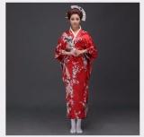 Kimono Japonês Feminino Gueixa Seda Vermelho Ou Preto Pavão