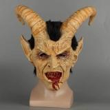 Máscara Assustadora Demônio Diabo Lúcifer Chifres Figuração