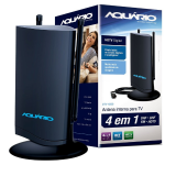 Antena de TV Aquario Interna 5 em 1 VHF UHF FM e HDTV Digital - DTV-4500