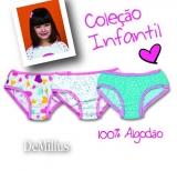 Kit 3 Calcinhas Infantis DeMillus Girl Cores e Estampas Diversas Tamanhos PE, ME e GR Malha 100% Algodão
