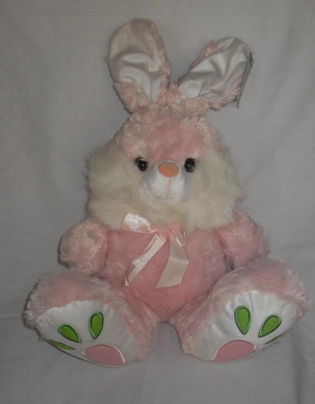 Coelha de Pelúcia 60 cm Super Fofa Cor de Rosa Com Branco Detalhes Colorido nos pés e Laço do Pescoço