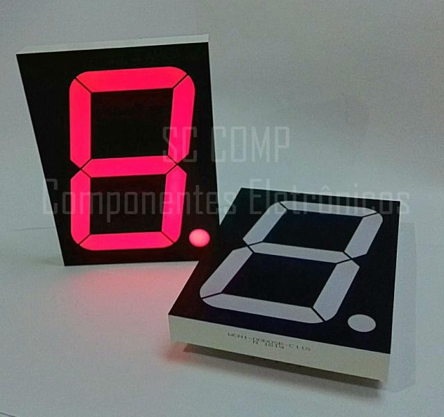 Display 7 segmentos; 1 Dígito; 4 Polegadas; Vermelho; Anodo