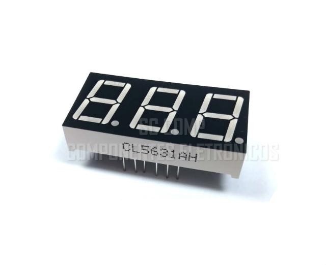 Display 7 segmentos; 3 Dígitos; 0,56 Polegadas; Vermelho; Catodo (embalagem 100pçs)