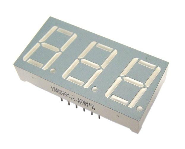 DISPLAY 7 SEGMENTOS; 3 Dígitos; 0,56 Polegadas; Azul; Anodo (WCN3-1056B7-A11)