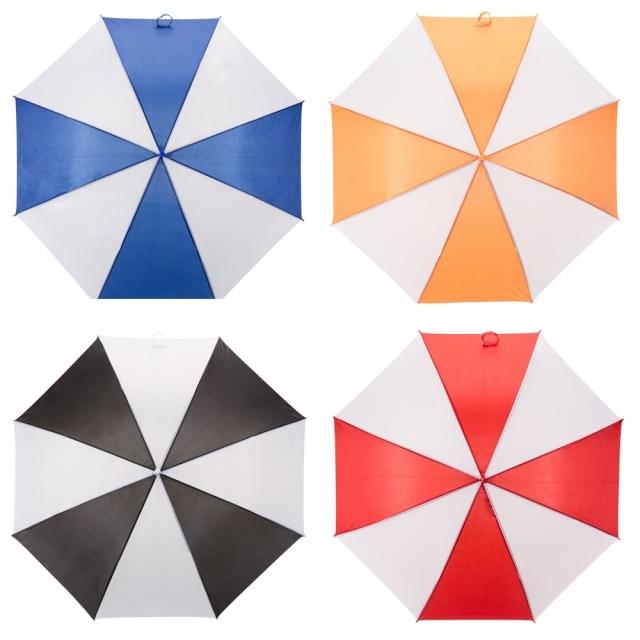 Guarda-chuva colorido com detalhes branco e tecido de nylon, Mínimo 20 peças. Cód. 2076