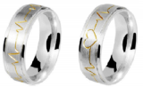 Par aliança de prata Rosamo 7mm
