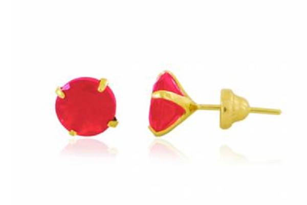 Brinco em Ouro 18k Zircônia 6,0 mm Calice Vermelho