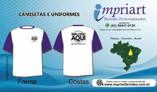 10 Uniformes malha fria manga e gola de cor, corpo camiseta em branco - Palmas - Tocantins - Brasil - Cod. cor.m. 0101