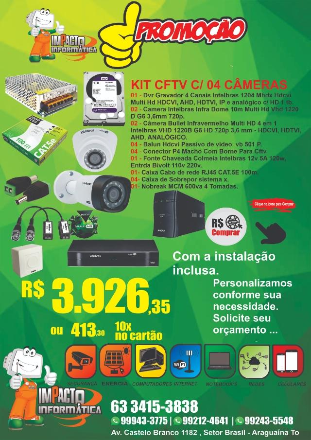 Kit Cftv C/ 04 Câmeras