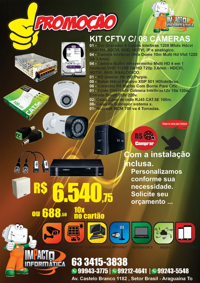 Kit Cftv C/ 08 Câmeras