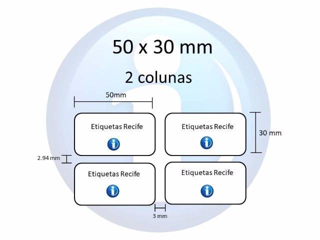 Etiqueta Adesiva 50 x 30 mm x 2 colunas para Impressoras Térmicas