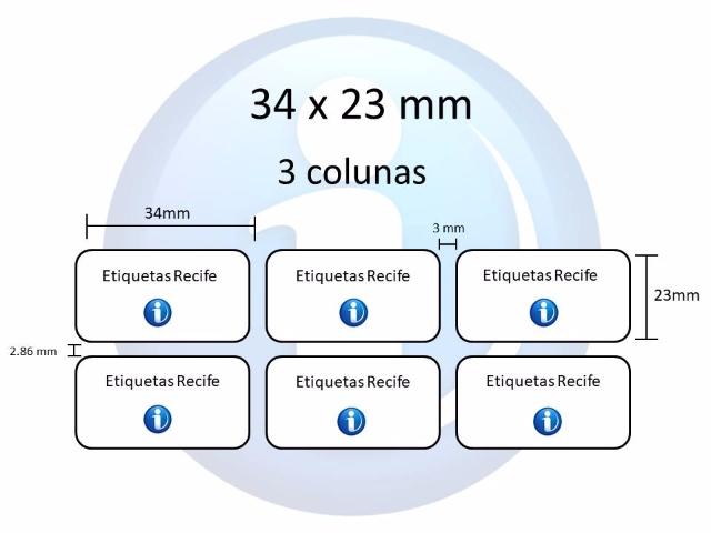 Etiqueta Adesiva, 34 x 23 mm x 3 colunas (Impressoras Térmicas)