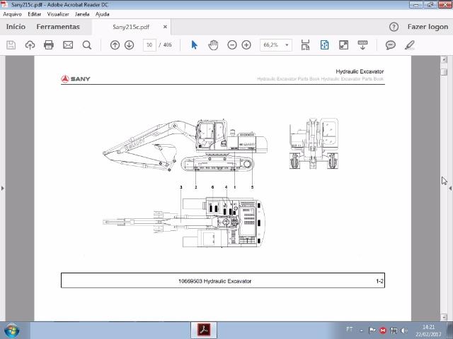 Catálogo de peças SANY 215C em pdf por R$170,00