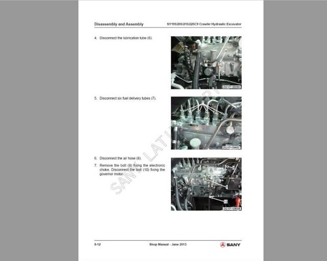 Manual de serviço Sany SY195C9, SY205C9, SY215C9, SY225C9 por R$170,00