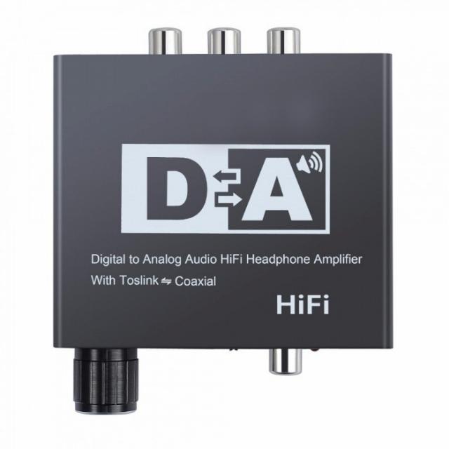 Conversor de Áudio Digital para Analógico c/ Controle de Volume RCA ,P2 e Toslink - EL201CV