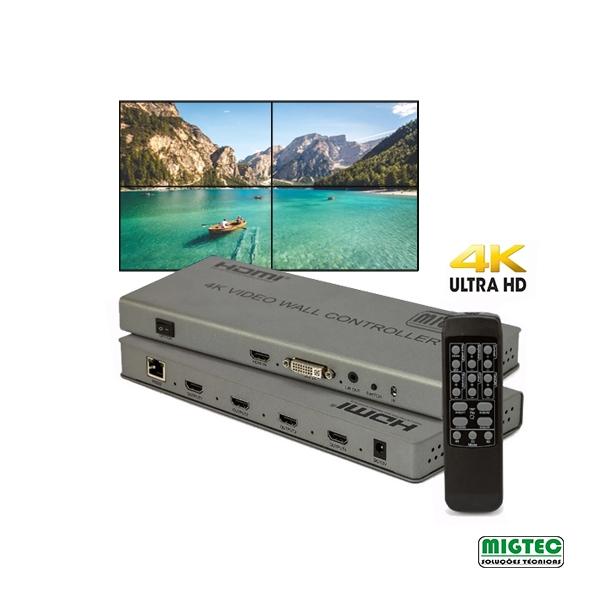 Controlador de Vídeo Wall 2x2 4K2K-  HDVW2X2