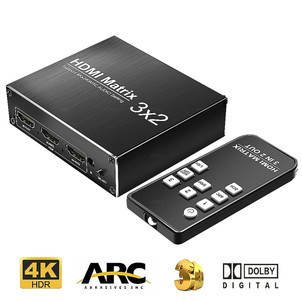 Chaveador e Distribuidor HDMI Matrix Switch 3x2 4k 2k -DK3X2