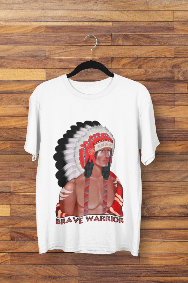 Camiseta Indio Americano com Cocar Brave Warrior (1708)