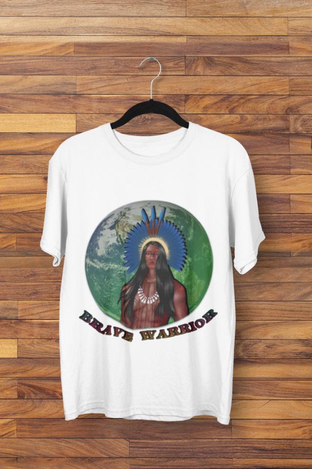 Camiseta Índio Brasileiro com Cocar Brave Warrior (1714)