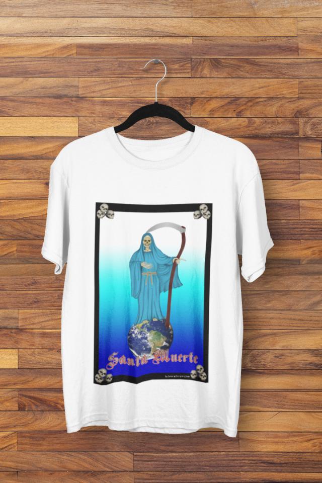 Camiseta Santa Morte Manto Azul Claro (1748)