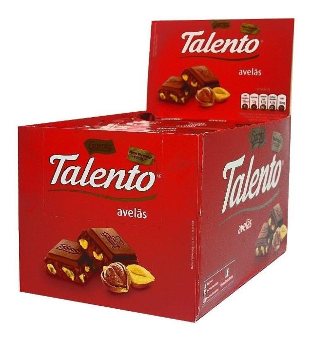 Chocolate Talento Vermelho Avelã 90g - caixa 12 un
