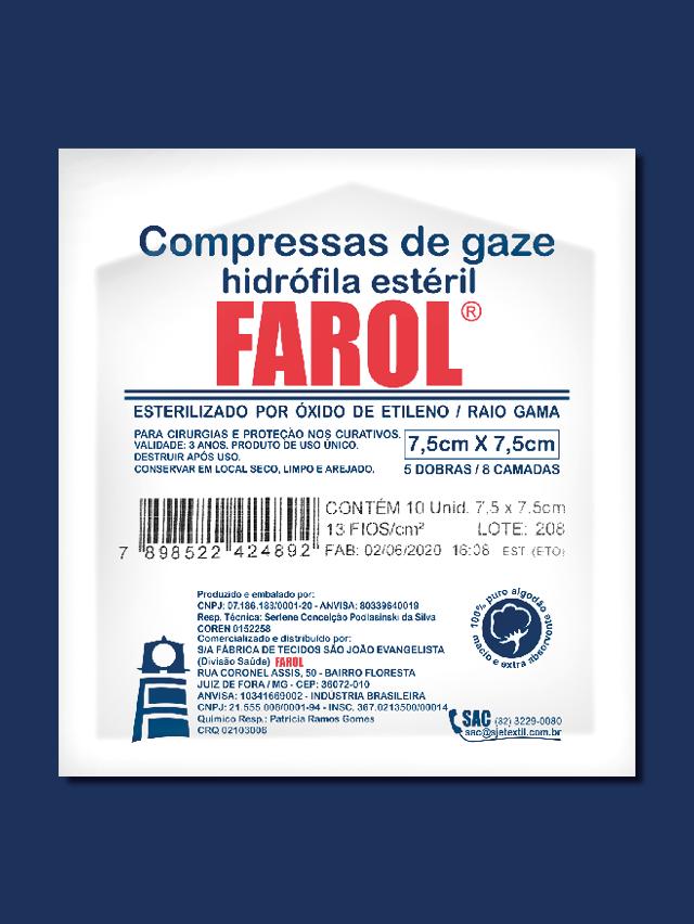 Compressa da gaze 7,5 x 7,5 - 13 fios - c/10 un - Farol