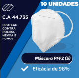 .Máscara Proteção Respiratória PFF2 Sem Válvula (auricular) Branca CA 44735 - Pacote c/ 10 unidades - Filtrosmil -