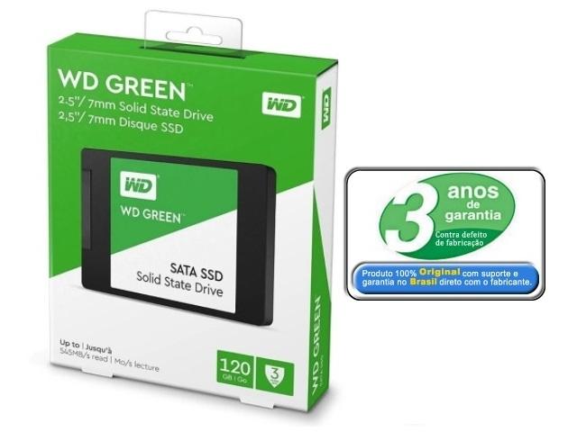 SSD 120gb Sata 3 Western Digital Green 2,5 6Gb/S Leitura 545MB/s, Gravação 430MB/s - WDS120G2G0A
