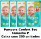 PAMPERS CONFORT SEC TAMANHO PEQUENO CAIXA COM 200 UN.