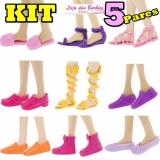 30cfbba36a  KIT ESPECIAL  05 Pares De Sapatos PLANOS   PÉ RETO   RASTEIRINHAS Para  Barbie