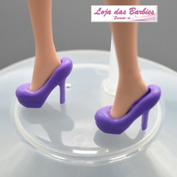 Sapatinho Clássico Para Barbie : *Scarpin Meia Pata* (Roxo)