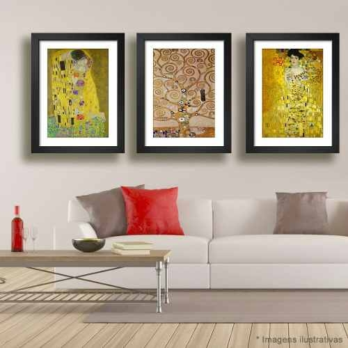 3 Quadro Gustav Klimt Beijo Adele Hope Kit Decorativo Sala