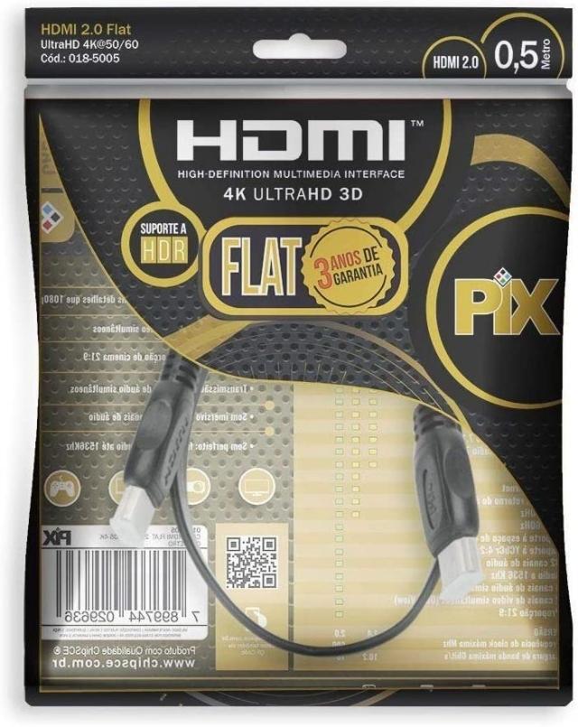 Cabo HDMI 2.0 Gold 4k UltraHD 3D 1Metro