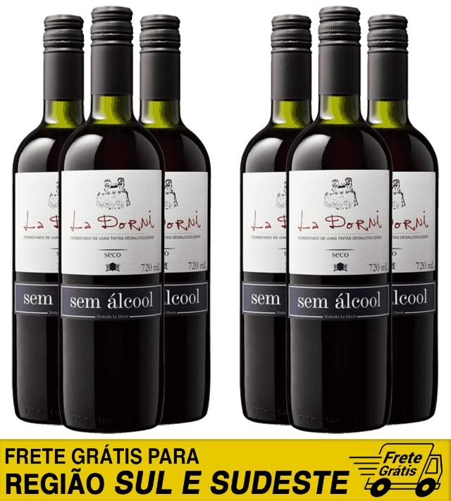 Caixa com 6 unidades do vinho tinto seco sem álcool