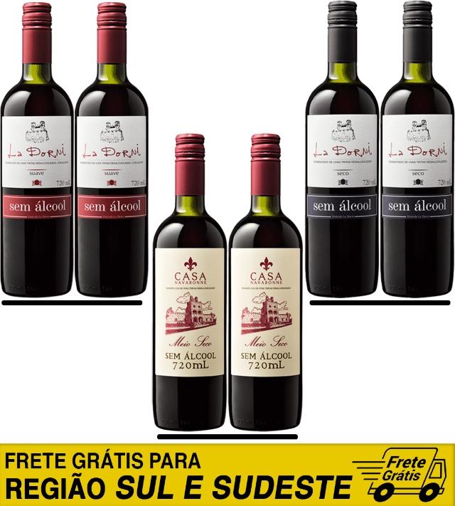 Caixa mista de 6 unidades - Vinho sem álcool - Suave, meio seco e seco