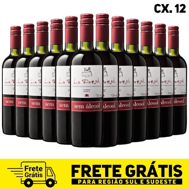 Caixa com 12 unidades do vinho tinto suave sem álcool