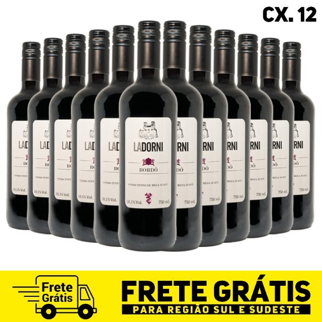Caixa com 12 unidades do - Vinho de mesa tinto suave 750 mL