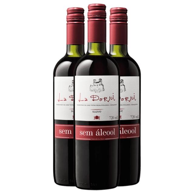 Caixa com 3 unidades - Vinho tinto suave sem álcool