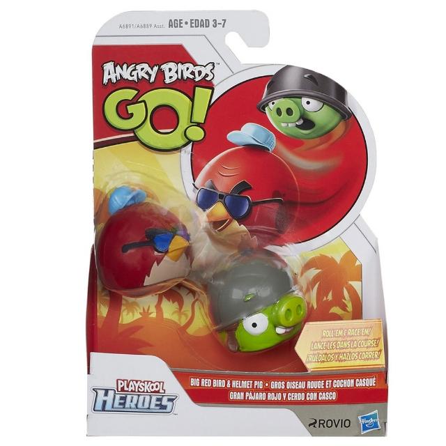 2 Figuras Angry Birds Go! - Big Red e Helmet Pig - Hasbro