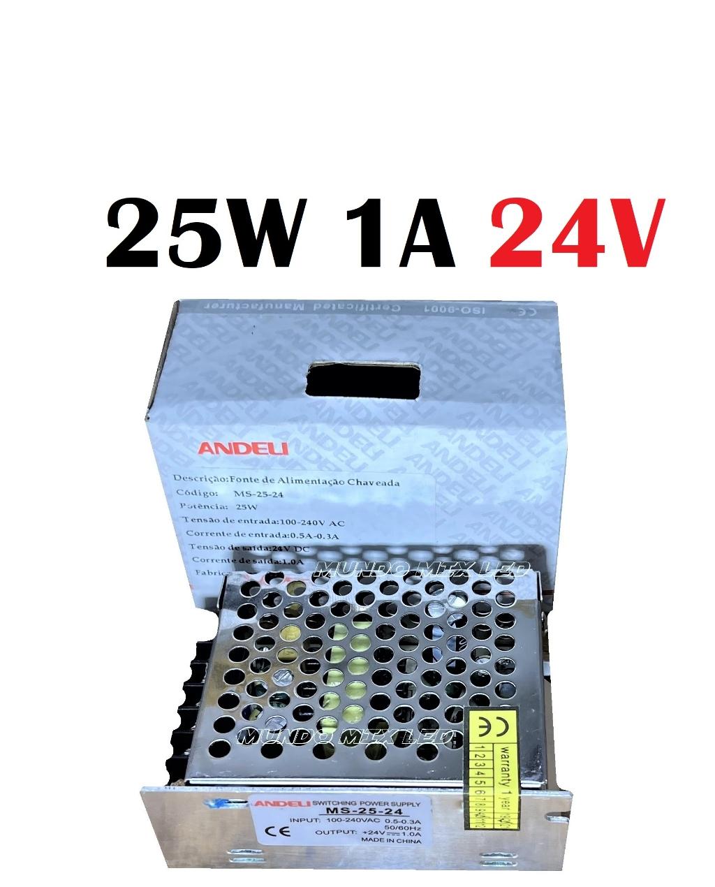 Fonte De Alimentação Automatica 110v/220v Metálica 25W 24V 1A Andeli