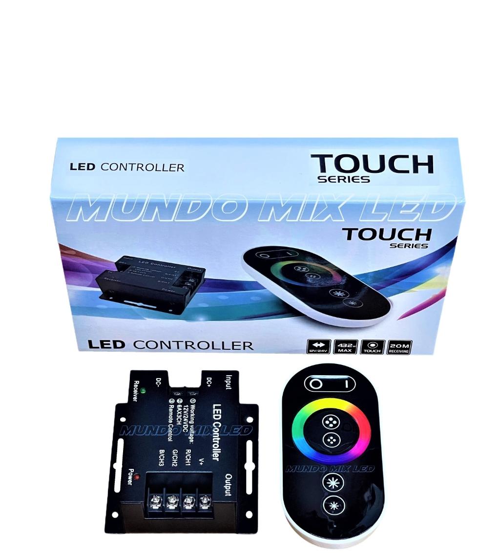 Controladora Comando + Controle Rgb Touch (( PRETO )) RF P/ Refletor Led Piscina / Fita Led / Modulo Rgb