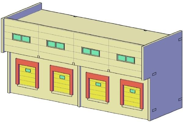 Docas de Carga Standard 4 docas escala HO 1:87 Holzmann Pronta Entrega