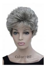 Linda Peruca Wig Super Moderna Ondulada Grisalha Cinza 48t