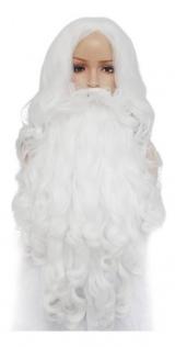 Conjunto Peruca E Barba Adulto Branca Gandalf Papai Noel Pro