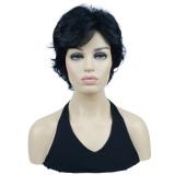 Wig Peruca Curta Feminina Ondulada Cor#2 Preta Natural Uso Diário - Alice