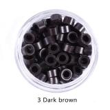Pcte C 250 peças de Micro Anéis Grânulos de Silicone para Extensão de Cabelos Aplique Mega Hair - CASTANHO ESCURO